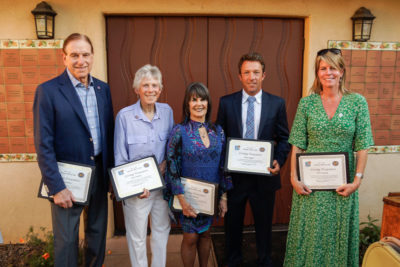 2018 Living Treasure awardees are, from left, Alan Greenberg, Lynne Doherty, Joyce Robinson, Trevor Quirk and Tobi Jo Greene.